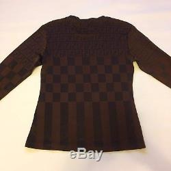 Womens Vintage 80s Fendi Top Brown Black Fendi Zucca Pattern Long Sleeve Shirt