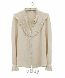 XIRENA Esmay VE Pearl Cream Ruffle Gauze Long Sleeve Blouse Shirt Top M