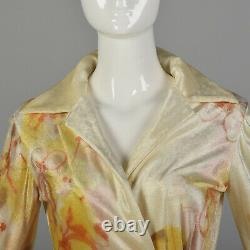 XS Holly Harp Cream Top 1970s Hand Painted Wrap Shirt Velour Long Sleeve 70s VTG