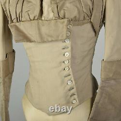 XXS 1800s Victorian Bodice Long Sleeve Cotton Top As Is VTG