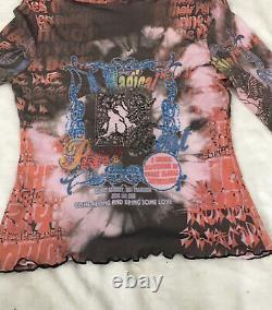 Y2K Vintage Peace Event Doves Grateful Dead Long Sleeve Turtleneck Mesh Top M