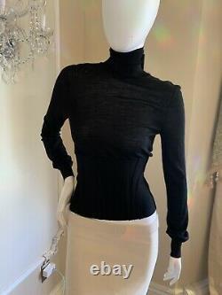 YVES SAINT LAURENT YSL Black Long Sleeve Turtleneck Corset Top Knit Sweater SIZE