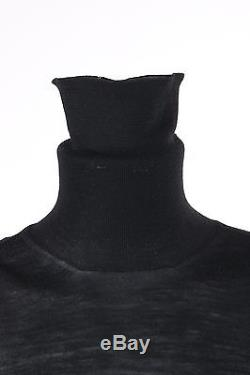 YVES SAINT LAURENT YSL Black Long Sleeve Turtleneck Corset Top Knit Sweater Sz M