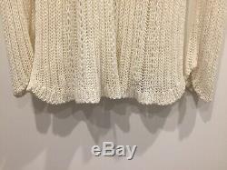 Yohji Yamamoto Cream White Crochet Net Long Sleeves Tunic Top Pullover Size M