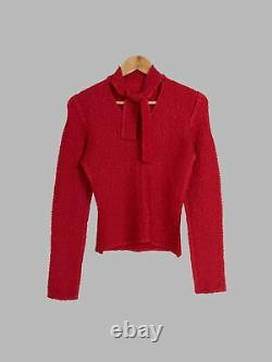 Yoshiki Hishinuma red crinkled polyester ribbon neck longsleeve top JP 2 M S
