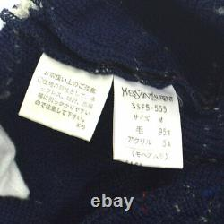 Yves Saint Laurent Border Long Sleeve Knit Tops Wool Multi-Color #M AK31914i