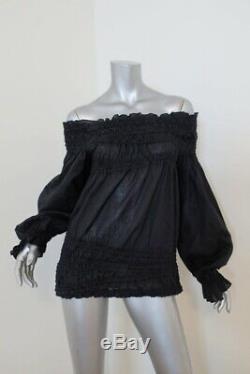 Yves Saint Laurent Off the Shoulder Blouse Black Cotton Size 42 Long Sleeve Top