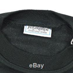 Yves Saint Laurent Round Neck Long Sleeve Tops Sweatshirt Black Italy AK31986