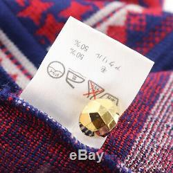 Yves Saint Laurent Separate Long Sleeve Tops Skirt 130 Navy Red Wool Auth #X633