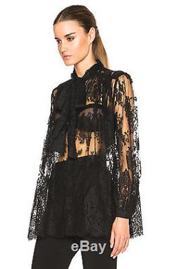 ZIMMERMANN Rhythm Lace Bow Long Sleeve Top Blouse in Black 1 US 4 / 6 S