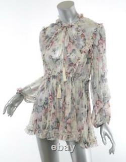 ZIMMERMANN Womens JASPER Pastel Floral Ruffle Deep V-Neck Top Blouse 1-4-38 NEW