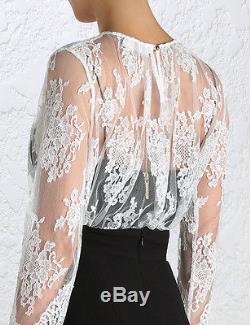 ZIMMERMANN esplanade lace long sleeve blouse / top winter white 1 S