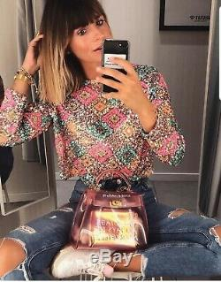 Zara Harlequin Sequin Long Sleeve Woven Top, Size M UK 10-12 New