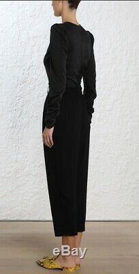 Zimmermann Drape Bodice Top Black Silk/Spandex Stretch Long Sleeve $750 RRP