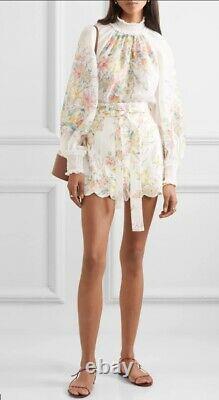 Zimmermann Zinnia Shirred Top/Blouse, Rami, White, Floral, Dolman Sleeve $800 RP